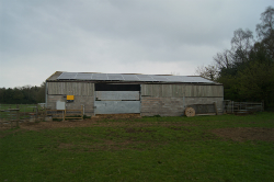 Solar panels on a barn roof